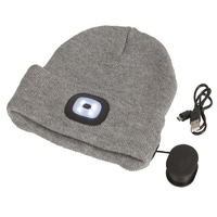 Grey Beanie with Bluetooth Speakers and LED Torch