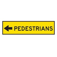 TMG Pedestrian Left Sign - 1200x300 - Corflute-Work Zone Products Australia