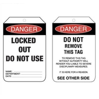 Danger. Lock Out Tags (Pkt of 5) Safety LockOut Tags