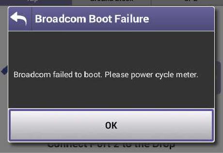 VIAVI ONX-620 Broadcom Error Screenshot