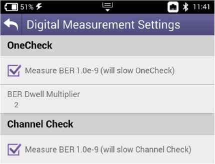 VIAVI ONX-620 Digital Measurement Settings Screenshot