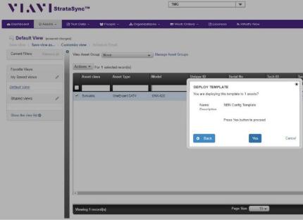 PC Screenshot: VIAVI StrataSync Portal - Deploy