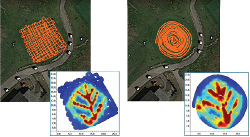 Scan Result using a Ground Penetrating Radar with External GPS